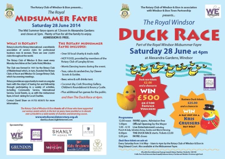midsummer fayre duck race 2014