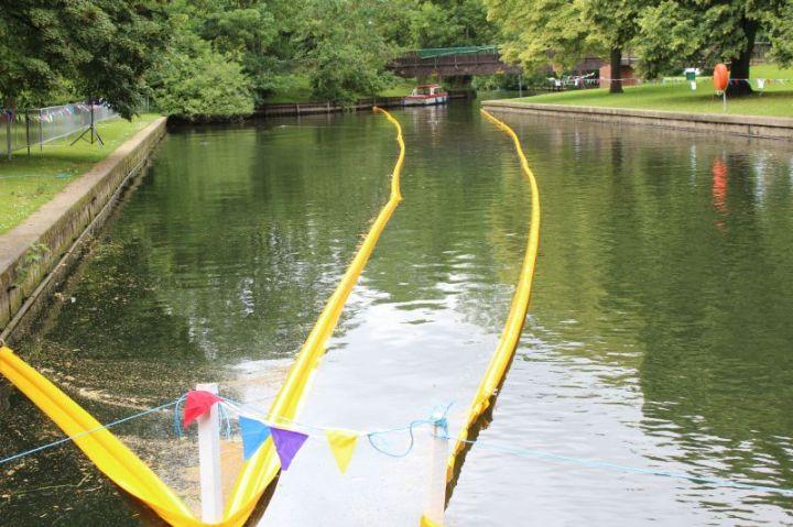 summer fayre duck race finishing line