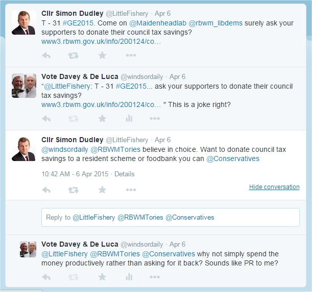 cllr simon dudley tweet re donating savings