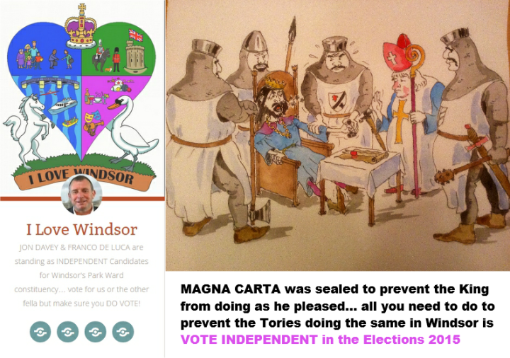 windsor local elections 2015 magna carta vote independent jon davey and franco de luca