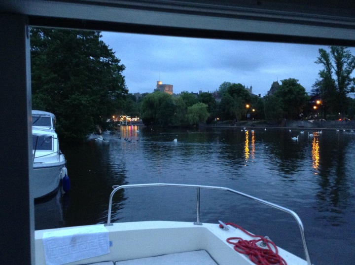 Windsor Castle in the evening from Lady Karen on The River Thames