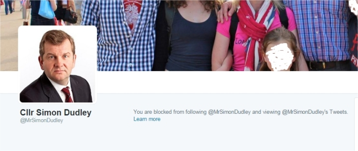 cllr simon dudley blocked me on twitter