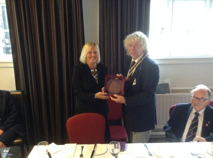 Gill Labrum head of windsor girls school with youth speaks trophy