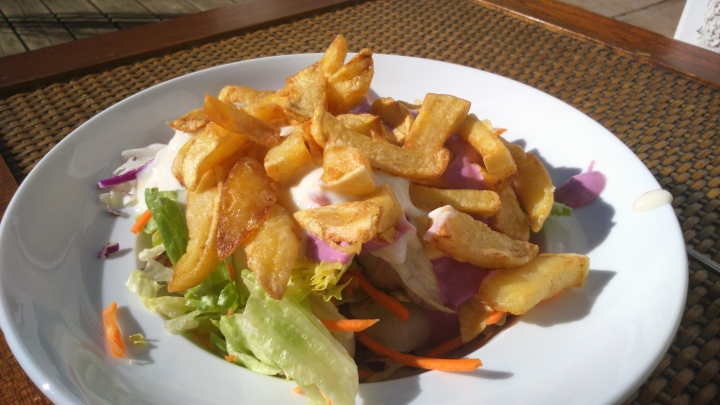 chips and salad