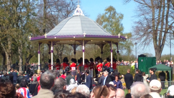 #queenat90 irish guards on bandstand