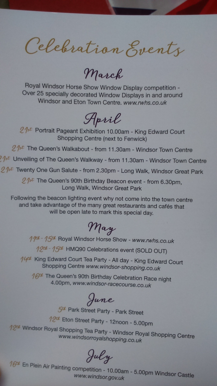 #queenat90 itinery for queen celebration events
