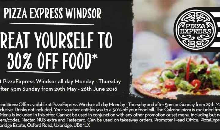 pizza express windsor 30 percent off food voucher