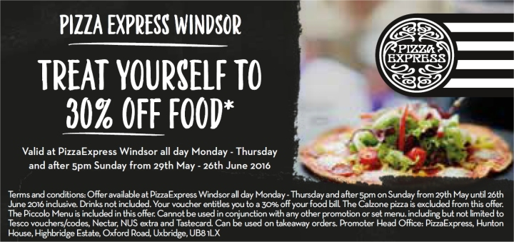 pizza express windsor 30 percent off food voucher
