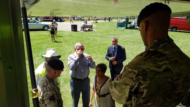 mayor meets household cavalry at summer fayre on armed forces day 2