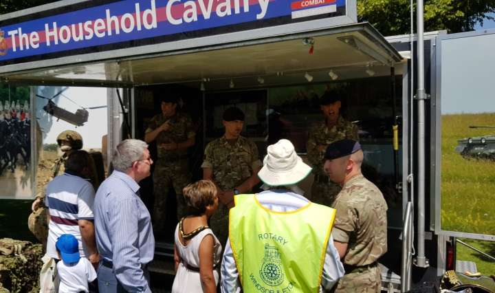 mayor meets household cavalry at summer fayre on armed forces day