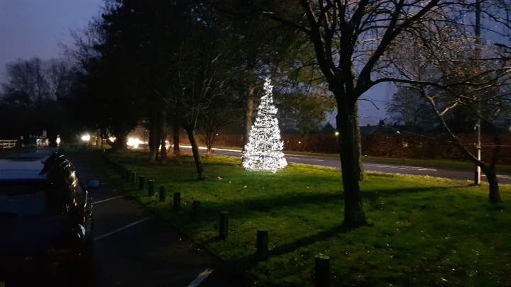 Christmas tree lit up on Sutherland Grange