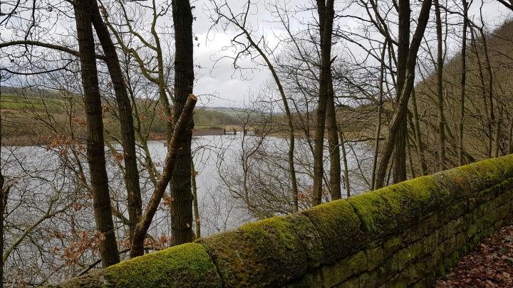 Yorkshire stone wall Lindley Wood reservoir