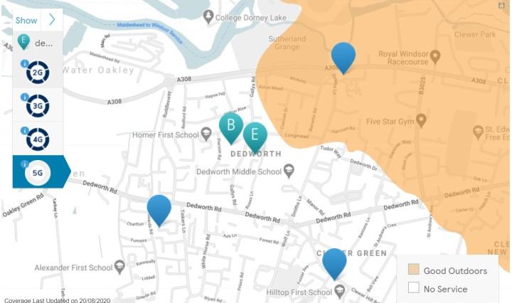 map of 5G dedworth