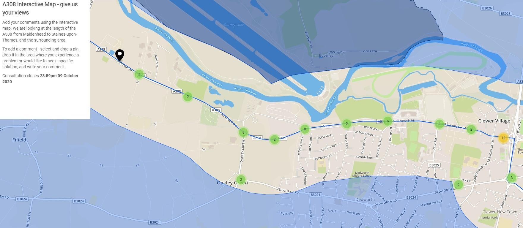 a308 corridor review map dedworth 210920