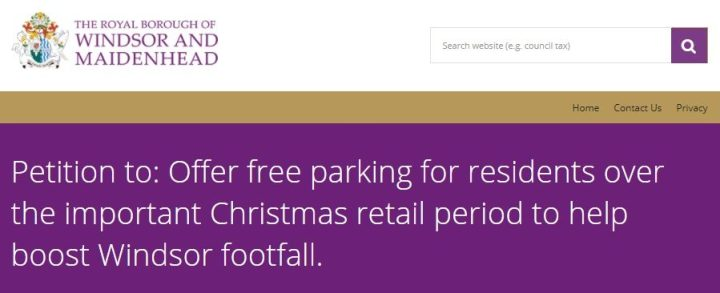 parking xmas petition