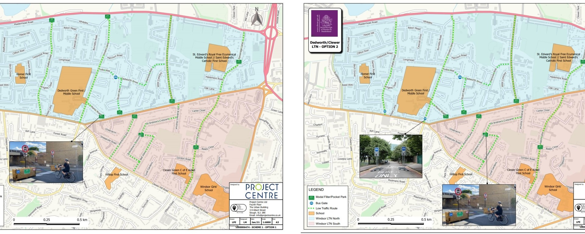 dedworth clewer low traffic routes 1 and 2