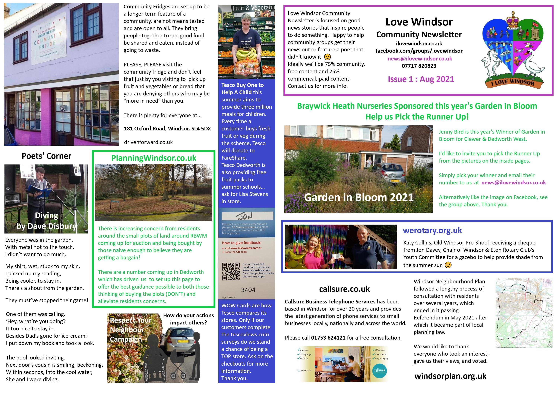 Love Windsor Community Newsletter Issue 1 Aug 2021